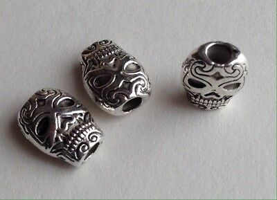 TIBETAN SILVER SUGAR SKULL BEADS - Halloween, Jewelry, Crafting - 10mm -- 10pcs - Halloween Beaded Jewelry