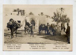 GUERRA-ITALO-TURCA-Artiglieria-da-Campagna-Il-carico-dei-muletti-PC-1915-Italy