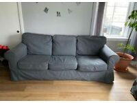 2 x 3 seater Ikea sofas with removable grey covers FREE