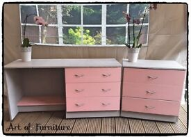 Kid's Bedroom Furniture Set Chest of Drawers Desk / Dressing Table Hand Painted in Paris Grey
