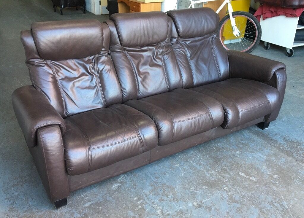 Brown leather Stressless Style recliner sofa WE DELIVER UK WIDE