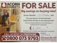 Acorn Stairlift, with guarantee, virtually new, only used for a couple of months