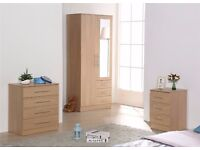 OAK MIRRORED BEDROOM FURNITURE SET - Wardrobe, chest & bedside cabinet