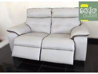 Designer Cream tone leather 2 seater + 2 seater sofas (28) £999