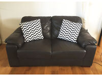 NEXT-inspired Beautiful dark brown Leather 2 seater sofa/couch