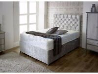 💛💛50% SALE PRICE💛💛 DOUBLE CRUSHED VELVET DIVAN BED BASE WITH DEEP QUILTED MATTRESS
