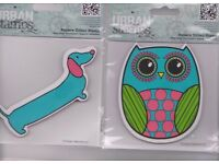 """Two """" Urban Stamps"""" A sausage dog and an owl"""