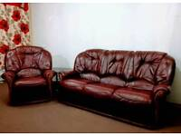 Leather sofa Settee & Chair
