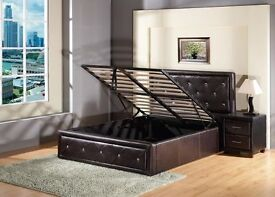 BRAND NEW DIAMANTE DOUBLE LEATHER OTTOMAN STORAGE BED FRAME WITH DEEP QUILTED MATTRESS (4FT6)