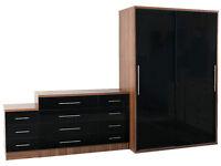 Black Gloss Bedroom Set - Double Sliding Door Wardrobe - Bedside Cabinet - Large Set of 6 Drawers