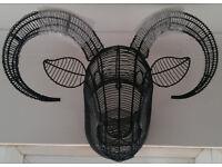 WALL ART/TOPIARY LONGHORN SHEEP'S HEAD