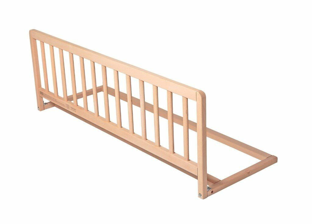 Childrens Wooden Bed Rail Deluxe Bed Guard Natural Wood In