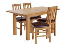 Ashwell Extendable Oak Veneer Table & 4 Chairs