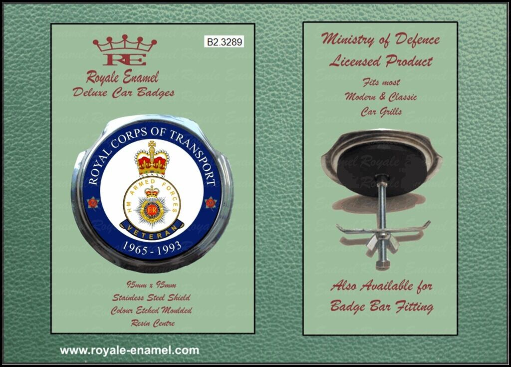 Royale Car Grill Badge /& Fittings ROYAL CORPS OF TRANSPORT 14 SQUADRON B2.3786