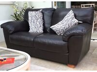 Two Sorrento Leather Sofas from Furniture Village - 168cm x 94cm - Excellent Condition