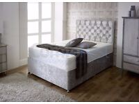 """CRUSHED VELVET DIVAN BED WITH 13"""" SOFT+FIRM MEMORY FOAM+ORTHOPEDIC MATTRESS-DOUBLE 4FT6 -3FT - 5ft"""