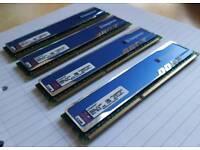 16GB - 4 x 4GB Kingston HyperX blu DDR3 RAM 1333mhz