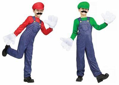 Video Game Guy Costume Child Boys Luigi Mario Super Overalls Green Red New