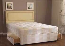 【50% SALE 】 BRAND NEW DOUBLE DIVAN BED WITH DEEP QUILT MATTRESS -- SAME DAY FAST DELIVERY