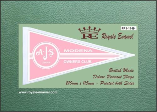Royale Antenna Pennant Flag AJS MODENA RED LOGO MOD SCOOTER FP1.1163