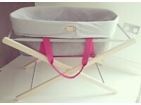 Moses basket mokee woolnest grey felt with beech stand AS NEW