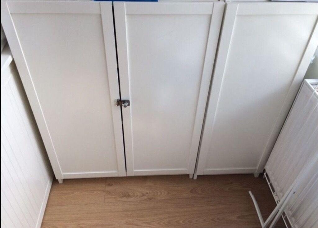 2 X Ikea Billy White Bookcase With Oxberg Doors Locks