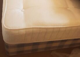 double bed with mattress divan base with 2 drawers and head board