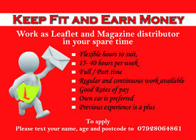 Paid weekly Leaflet & Magazine distribution job & work availiable immediately Leicester & LE areas