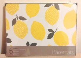 Set of 6 John Lewis Lemon Placemats Protective Cork Backing
