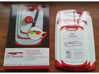 Set of 3 Brand new/Unused Double Sided Non Slip Chopping Boards. Boxed