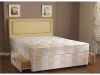 【SALE PRICE £89!!】COMPLETE BED STANDARD DOUBLE DEEP QUILT DIVAN BED (BASE & MATTRESS) BRAND NEW