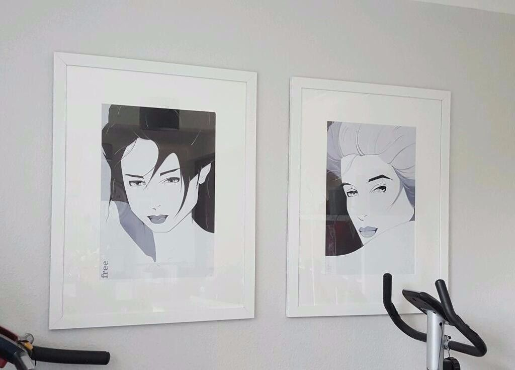 2 Large White Framed Glass Print in VGC £30 each Print of a B&W ...