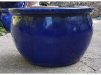 QUALITY LARGE HEAVY BLUE GLAZED CERAMIC GARDEN POT PLANTER