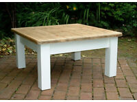 Solid Pine 3ft Square Chunky Coffee Table - Shabby Chic