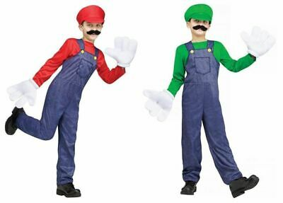 Video Game Guy Costume Child Boys Luigi Mario Super Overalls Green Red New](Boys Luigi Costume)