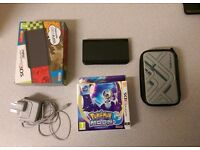 New Nintendo 3DS Black Boxed, Pokemon Moon + Charger and Carrying Case
