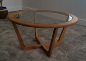 Oak glass topped coffee table