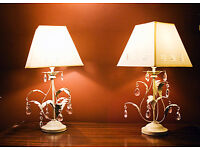 Pair of metal antique-vintage style table or bedside lamps