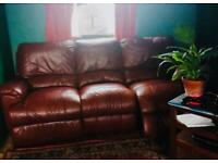 3 seater red/brown leather recliner sofa