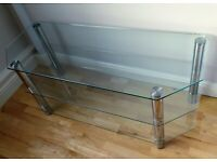 3 Shelf Glass Table / TV Stand with Chrome Legs