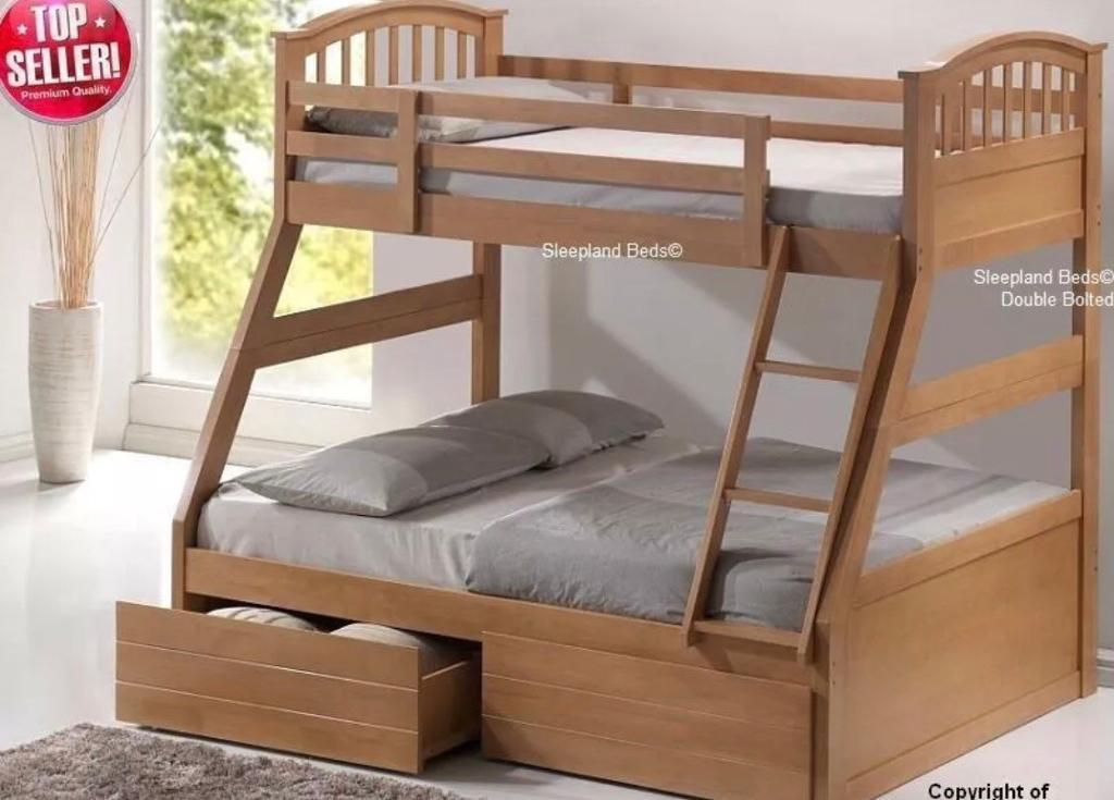 Bon Real Solid Wood, Triple Bunk Bed Frame. Double Bed And Single Bed Bunk With  Under Bed Storage
