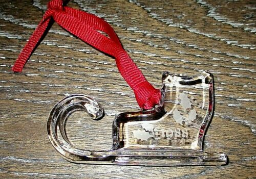 Orrefors Signed & Dated 1988 Crystal Glass Sleigh Sled Christmas Ornament EUC