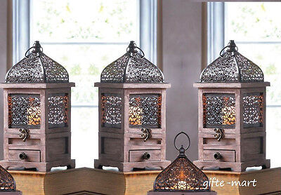 "5 rustic brown wood metal cage Moroccan 14"" Candle holder Lantern lamp wedding"