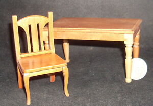 Pecan-Table-4-Chairs-1-12-Dining-Kitchen-Meal-Retired-T7170-Dollhouse-Miniature
