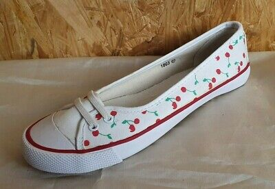 Zapatos Mujer - Bailarinas - Talla 37 - Blanco Cerezas - Nuevo...