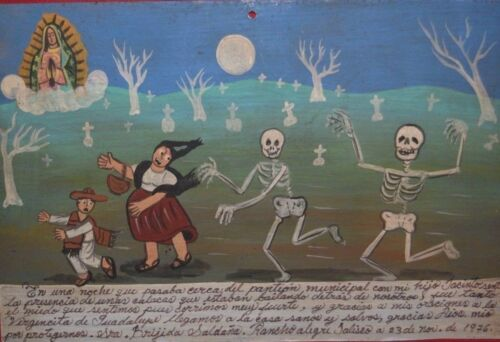 Retablo Ex Voto Day Of The Dead Brother And I Were Chased Out Of The Cemetery