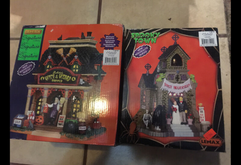 spooky town halloween just married witch and wizard lot of 2 Michaels