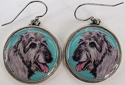 Irish Wolfhound Original Art Earrings - Irish Wolfhound Earrings