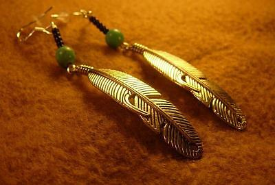 Native American Indian - Curved Long Feather Turquoise Sterling Silver Earrings