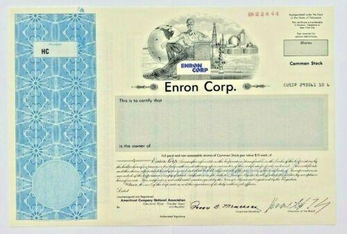 Enron Corporation SPECIMEN Stock Certificate - HUGE SCANDAL - FRAUD - VERY RARE!